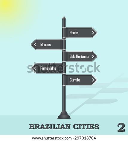 Road sign post - Brazilian cities 2 - stock vector