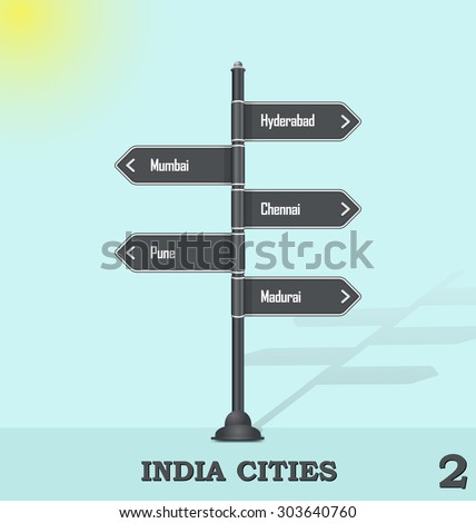 Road sign post - India cities 2 - stock vector