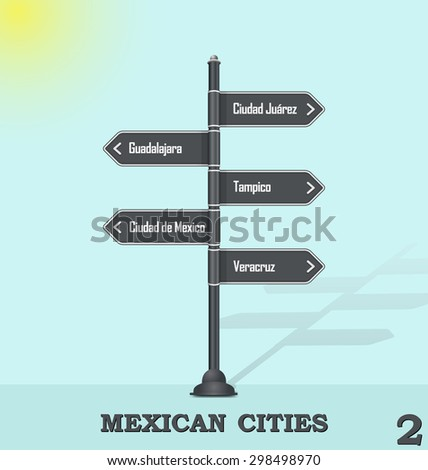Road sign post - Mexican cities 2 - stock vector