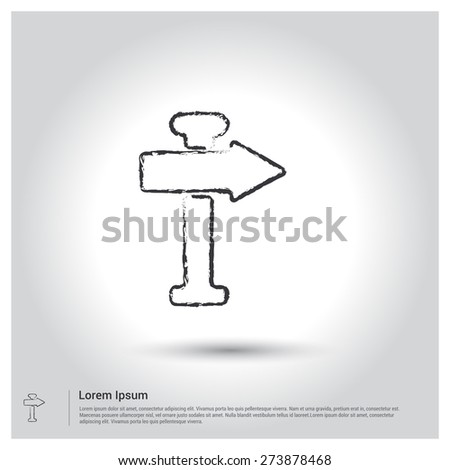 Road sign Right Arrow Direction Icon, Sketch Doodle pictogram icon on gray background. Vector illustration - stock vector