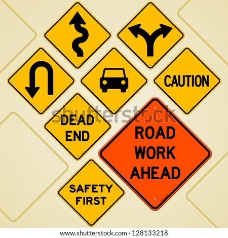 Road Sign Set - Textual yellow signs set as western roadsign symbols - stock vector