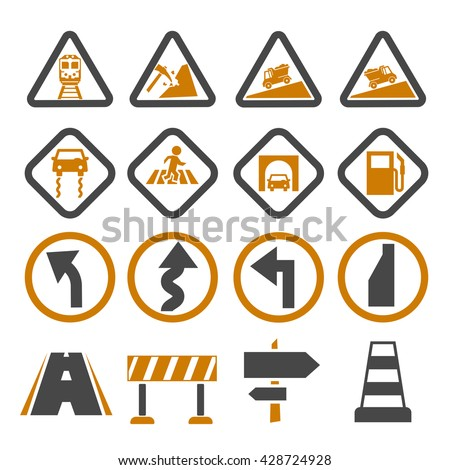 road sign, symbol road icon set