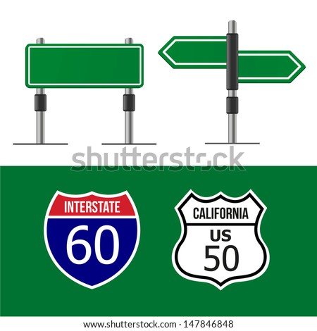 Road sign template - stock vector