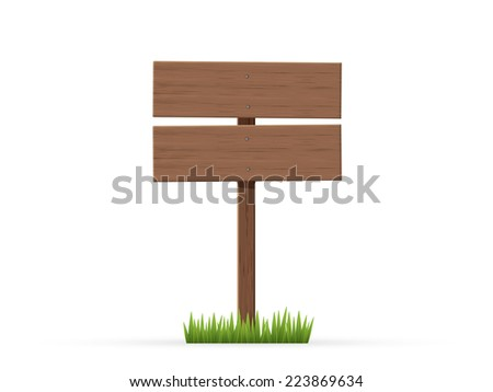 Road sign two sheets on a grass - stock vector