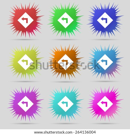 Road sign warning of dangerous left curve icon sign. A set of nine original needle buttons. Vector illustration - stock vector