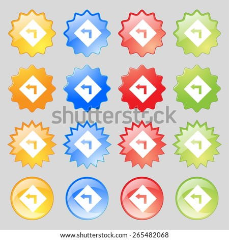 Road sign warning of dangerous left curve icon sign. Big set of 16 colorful modern buttons for your design. Vector illustration - stock vector