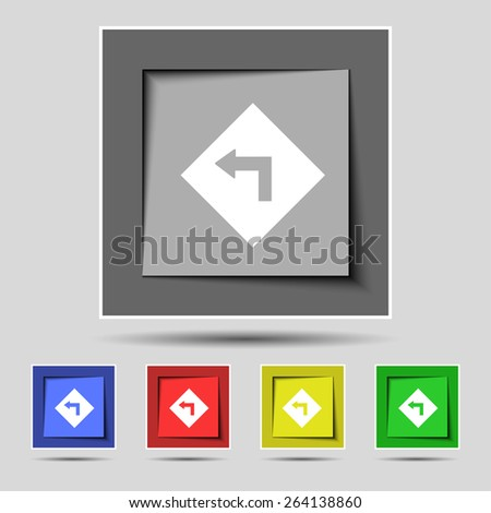 Road sign warning of dangerous left curve icon sign on the original five colored buttons. Vector illustration - stock vector