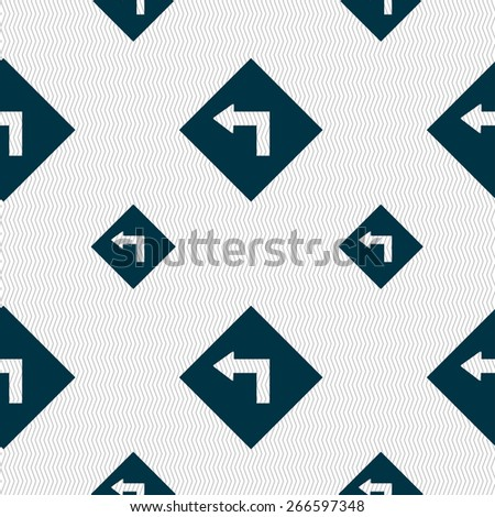 Road sign warning of dangerous left curve icon sign. Seamless pattern with geometric texture. Vector illustration - stock vector