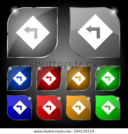 Road sign warning of dangerous left curve icon sign. Set of ten colorful buttons with glare. Vector illustration - stock vector