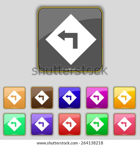 Road sign warning of dangerous left curve icon sign. Set with eleven colored buttons for your site. Vector - stock vector