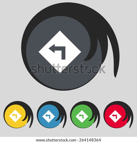 Road sign warning of dangerous left curve icon sign. Symbol on five colored buttons. Vector illustration - stock vector