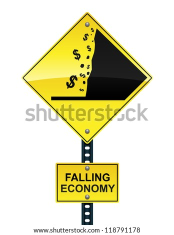 Road sign warning of the impending fiscal cliff - stock vector