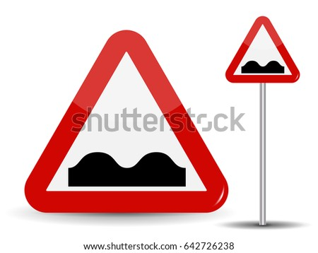Road sign Warning: Uneven road. In Red Triangle image of bad cover with pits. Vector Illustration. EPS10