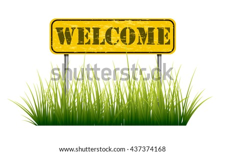 Road sign welcome - stock vector