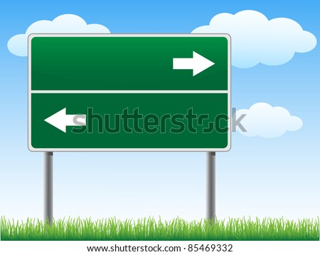 Road sign with arrows on sky background clouds vector. - stock vector