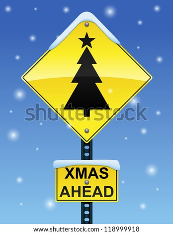 Road sign with Christmas tree on a snowy background - stock vector