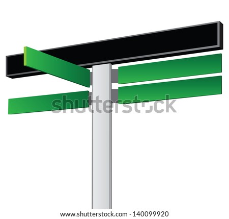 Road sign with one common boards and four pointers. Vector illustration.