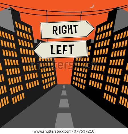 Road sign with opposite arrows and text Right - Left, vector illustration - stock vector