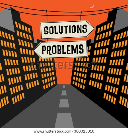 Road sign with opposite arrows and text Solutions - Problems, vector illustration - stock vector