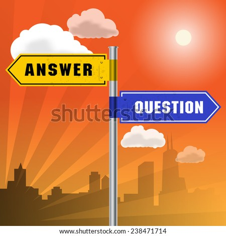 Road sign with words Answer, Question, vector illustration - stock vector
