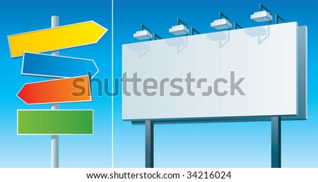 road signs and billboard (vector) - stock vector