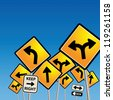 Road signs chaos, vector illustration - stock photo