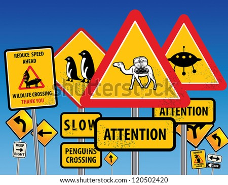 Road signs chaos, vector illustration - stock vector