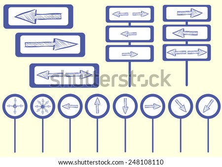 Road signs direction signs with blue shooters - stock vector