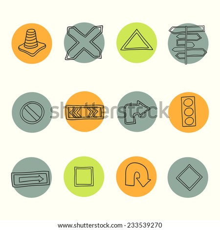 Road signs icons. Vector illustration. Hand drawn road signs set. - stock vector