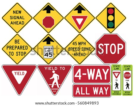 Road signs in the United States. Advance Traffic Control, Stop and Yield. Vector Format