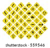road signs in vector format pack 3 - stock vector