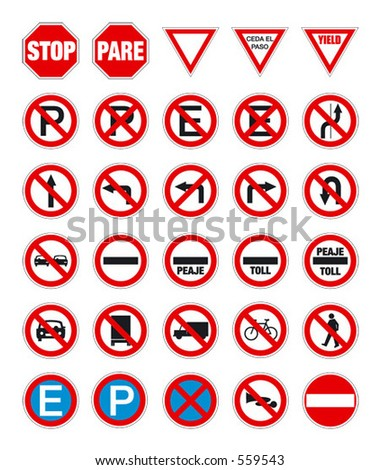 road signs in vector format pack 1 - stock vector