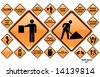 Road Signs ORANGE series: 22 different detailed US/Australian style road signs - stock vector
