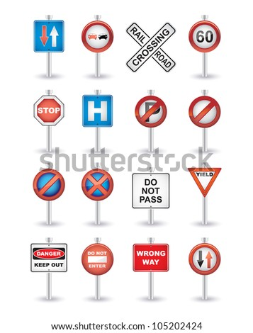road signs set - stock vector