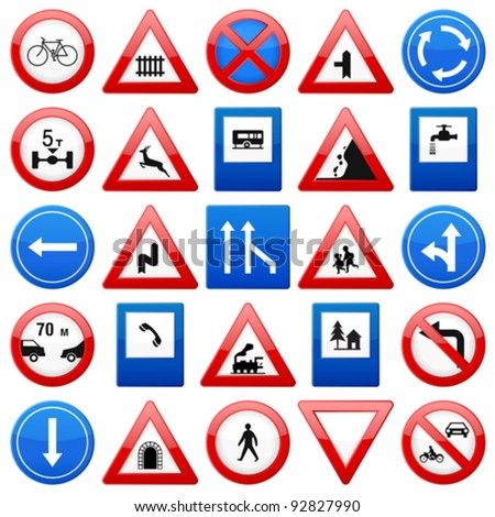 Road signs set on a white background. Vector illustration.