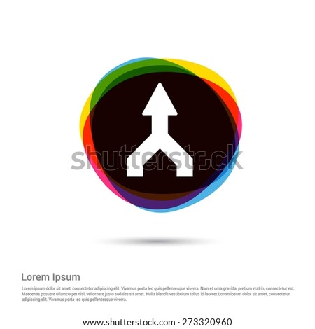 Road Signs straight Icon, White pictogram icon creative circle Multicolor background. Vector illustration. Flat icon design style - stock vector
