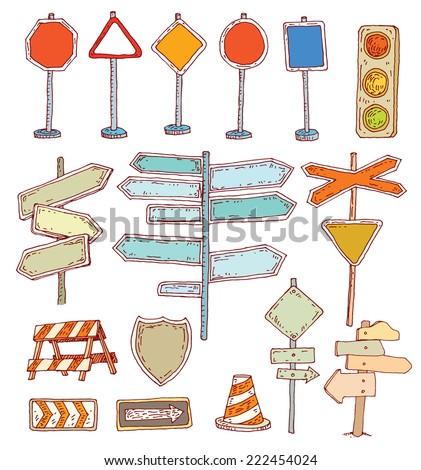Road signs. Vector illustration. - stock vector