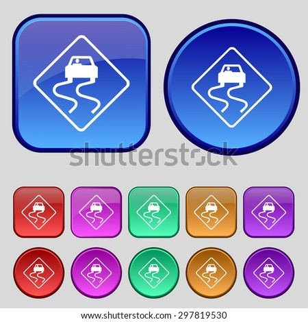Road slippery icon sign. A set of twelve vintage buttons for your design. Vector illustration - stock vector