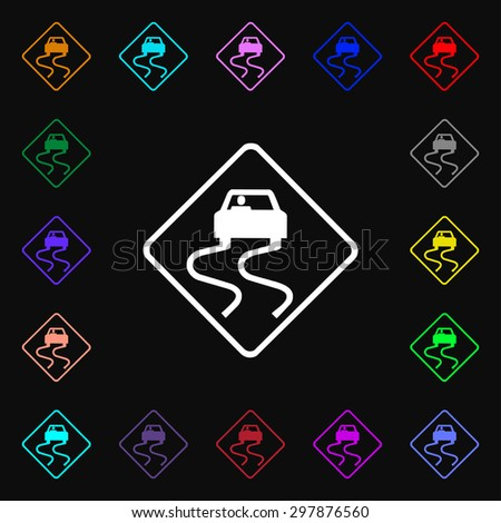 Road slippery icon sign. Lots of colorful symbols for your design. Vector illustration - stock vector