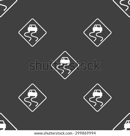 Road slippery icon sign. Seamless pattern on a gray background. Vector illustration - stock vector