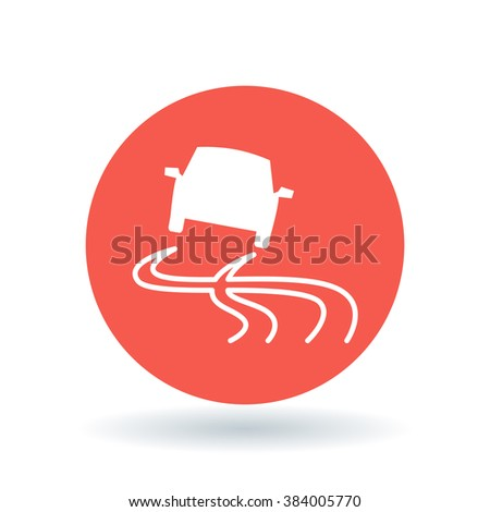 Road slippery when wet icon. Road caution sign. Vehicle traction control symbol. White car hazard icon on red circle background. Vector illustration. - stock vector