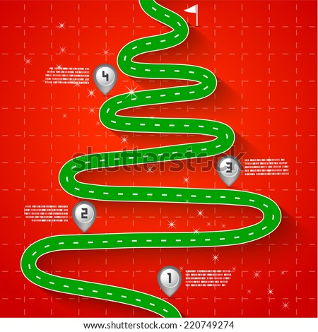 Road & Street Christmas tree with map pointers, Holiday Concept, Vector EPS10 - stock vector