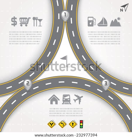 Road & Street Design Template with Icons Set, Travel Concept, Illustration eps10 - stock vector