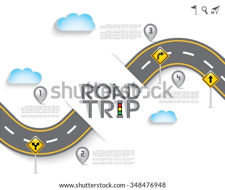 Road & Street with Map Pointer and Icon Set, Travel Concept, Vector EPS10. - stock vector