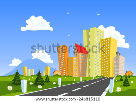 Road through the countryside into the city - stock vector