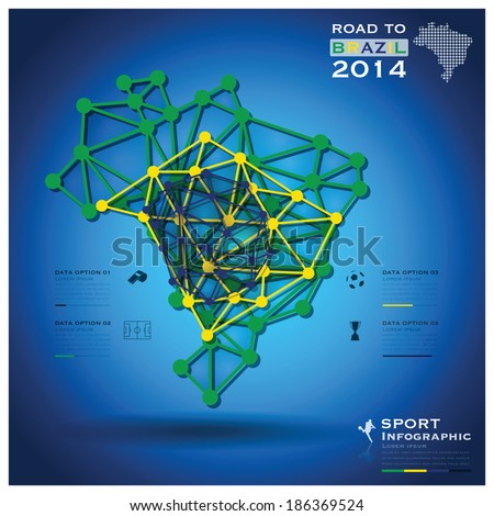 Road To Brazil 2014 Football Tournament Sport Geometric Infographic Background Design Template - stock vector