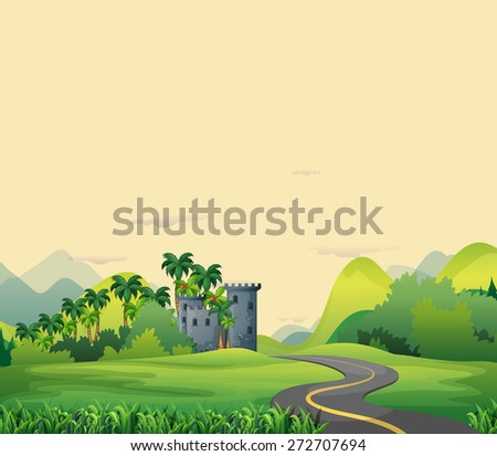 Road to castle in the open field  - stock vector