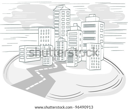 Road to Downtown, City Panorama, Vector Illustration - stock vector