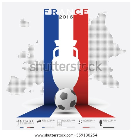Road To France 2016 Football Tournament Sport Infographic Vector Design Template - stock vector