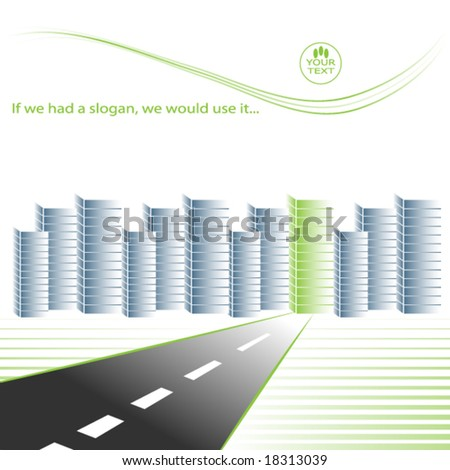 Road to green business city - vector - stock vector